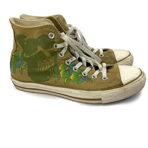 Converse Beige High Top With Skull/Floral Design